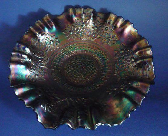 Fenton Blue Carnival Glass 'Orange Tree' 3-in-1 Crimped Bowl