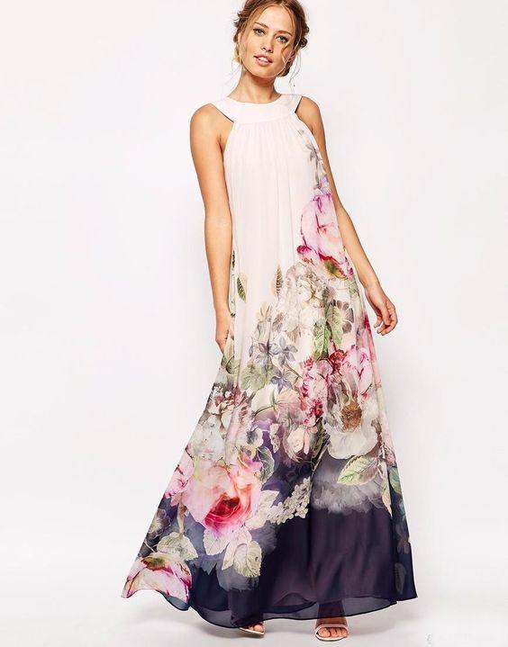 Women Chiffon Sleeveless Maxi Dress Boho Summer Long Floral Party ...