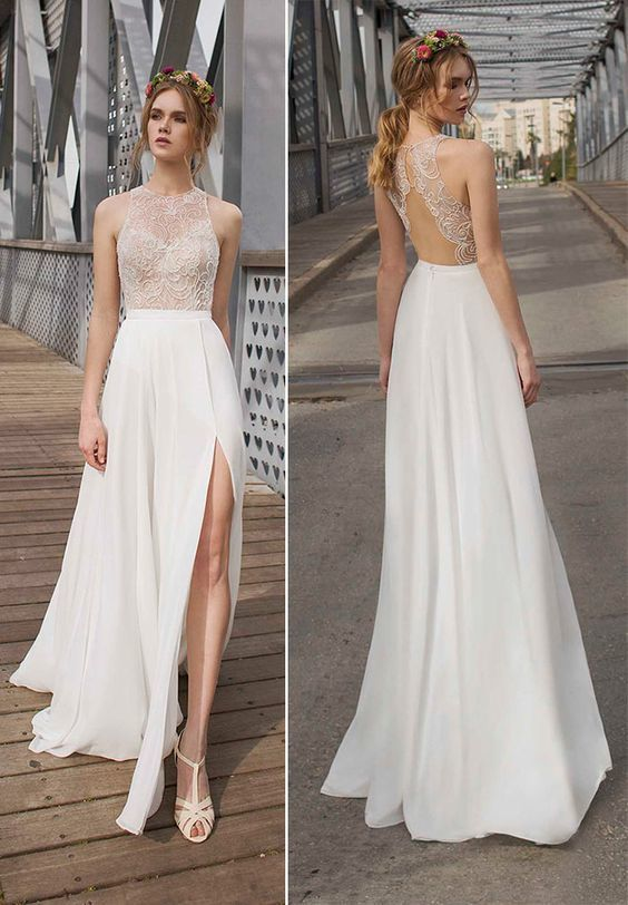 Simple Ivory A Line Round Neck Lace Chiffon Long Prom Dress 0907
