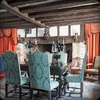 Dacha, Kent - dining room,fireplace,floor - tiled,period