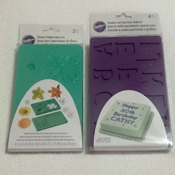 Wilton Fondant Gum Paste Silicone Mold Set Letters Numbers Flower Impressions | eBay