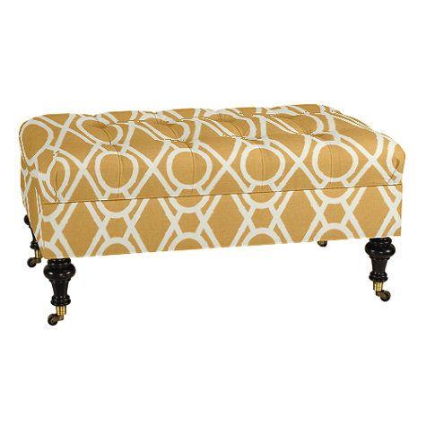 Castered Tufted Storage Ottoman | Ballard Designs - Castered Tufted Storage Ottoman Ballard Designs Ottomania