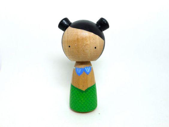Wooden Peg Doll Kokeshi Mermaid by abbyjac on Etsy, $25.00