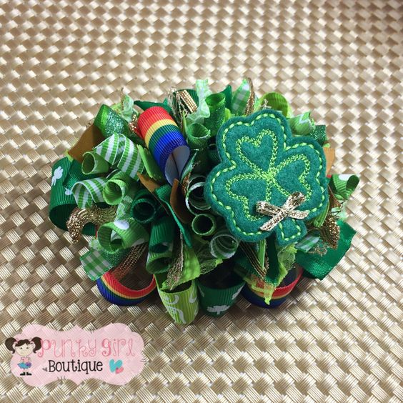 Shamrock Funky Loopy Bow ~ OTT ~ St. Patrick's Day ~ Fun and Frilly by PunkyGirlBoutique on Etsy https://www.etsy.com/listing/221497939/shamrock-funky-loopy-bow-ott-st-patricks