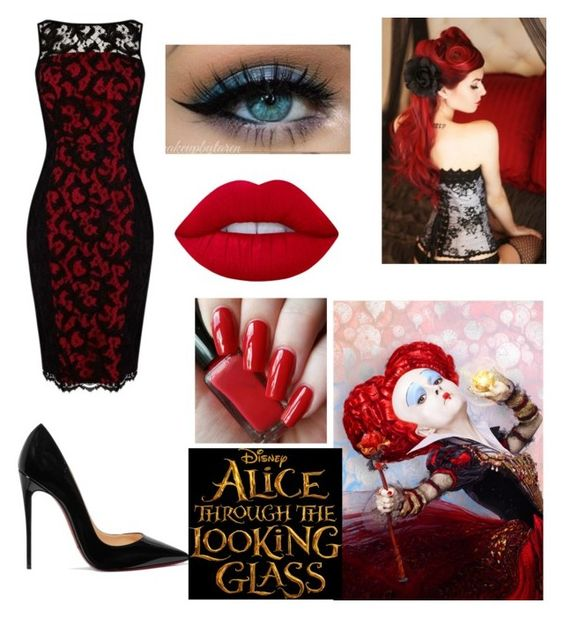 """Queen Of Hearts"" by derangeddanielle ❤ liked on Polyvore featuring Karen Millen, Retrò, Christian Louboutin, Lime Crime, contestentry and DisneyAlice"