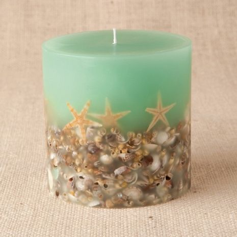 Amazing DIY Candle Project! Oh the possibilities! This woman made a shell candle, but you could use a variety of things! Get all your supplies on www.candlewic.com. http://lumierespournosdefunts.blogspot.fr/