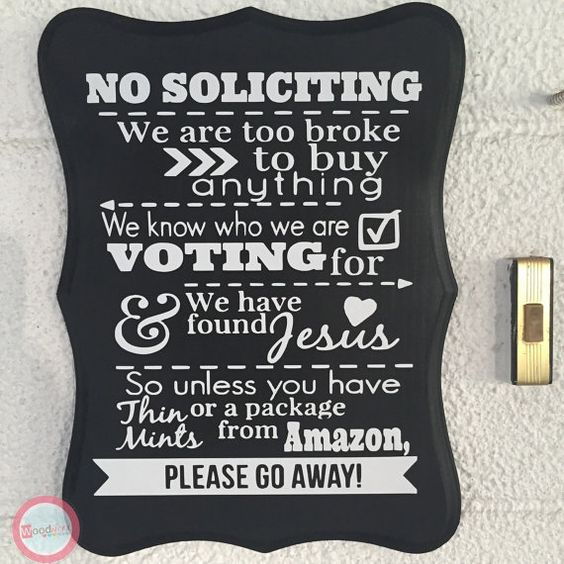 No soliciting Sign No Solicitation Sign no by WoodWorxDesigns