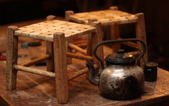 Bancos materos cuero y madera | Taller El Guatan