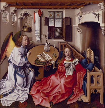 Annunciation Triptych (Merode Altarpiece), ca. 1427–1432  Workshop of Robert Campin (South Netherlandish, active by 1406, died 1444), central panel