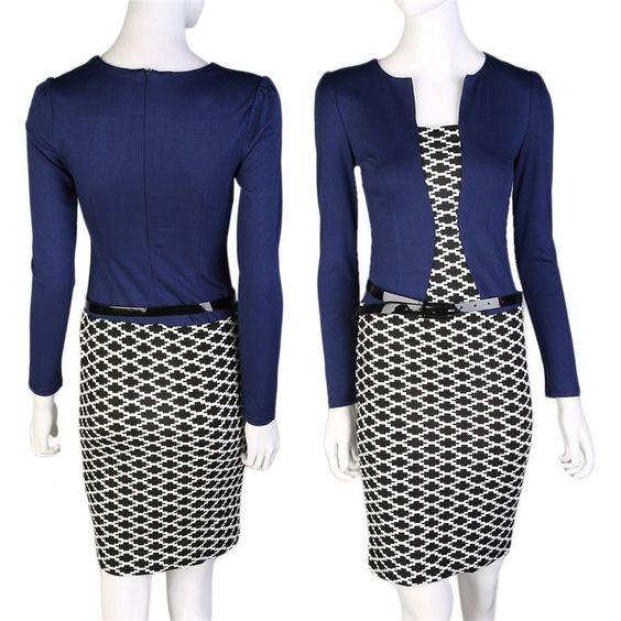 Fashion Autumn Spring Women Faux Two Piece Plaid Long Sleeve Pencil Dresses Oe