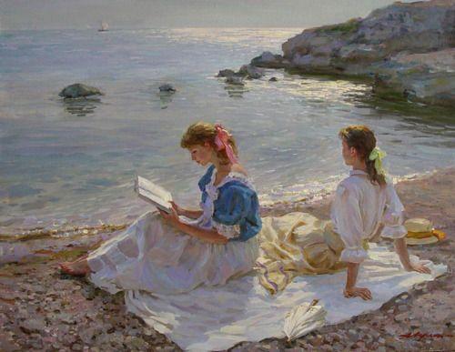 beach reading, beautiful, Don't know artist..do u?