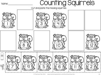 FREE Fall and Autumn Fun! Count the squirrels! Cut and paste the ...