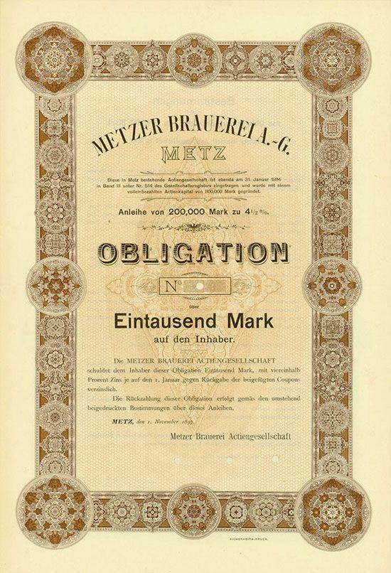 HWPH AG - Historische Wertpapiere - Metzer Brauerei AG Metz, 01.11.1897, Blankett einer 4,5 % Obligation über 1.000 Mark, o. Nr., 36