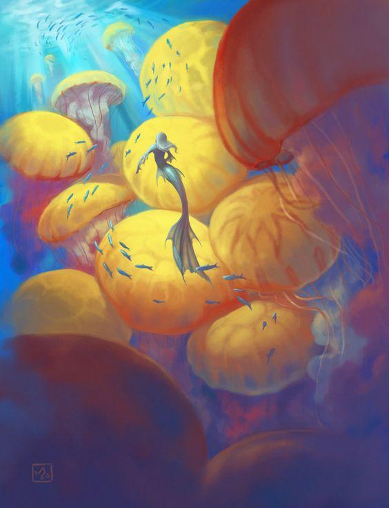 Jellyfish mermaid by Rechka.deviantart: