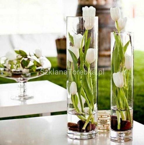 Wazon Szklany Cylinder 40cm F 10cm Tulip Decor Flower Vases Decoration Tulips Arrangement
