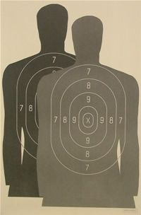 Law Enforcement Photo Target B27M with silhouettes overlayed
