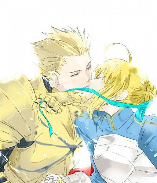 アルトリアとキスするギルガメッシュ