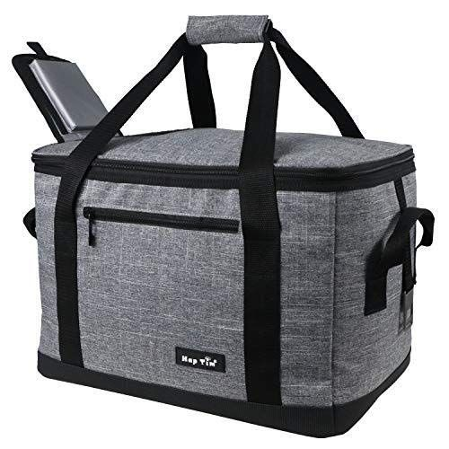 Cooler Bag 40-Can Large with 2 Ice Packs,Insulated Soft Sided Cooler Bag for Outdoor Travel Hiking Beach Picnic BBQ Party Large Capacity 24-Can Lunch Cooler Soft Sided Picnic Bag for Camping Hiking Travel for Men Women Gray Canway
