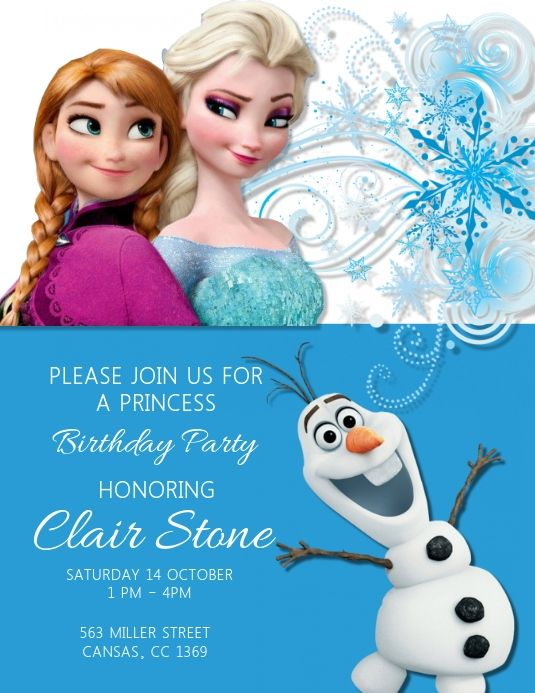 Customize This Design With Your Video Photos And Text Easy To Use Online Tools With Thou Birthday Invitations Kids Frozen Birthday Party Birthday Invitations