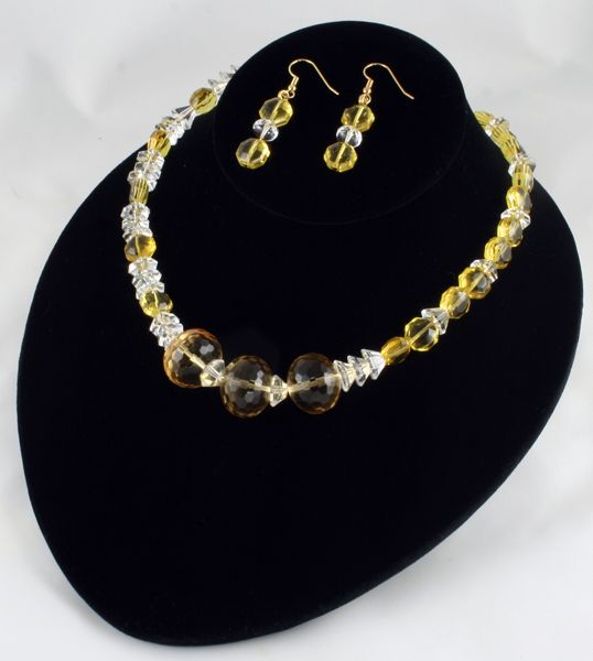 A sparkling yellow quartz necklace & earrings created by Sandra Lee of Rose of Sharon Jewelry.