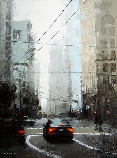 "Artist David Cheifetz - ""Veiled District"" - 24"" x 18"" oil."