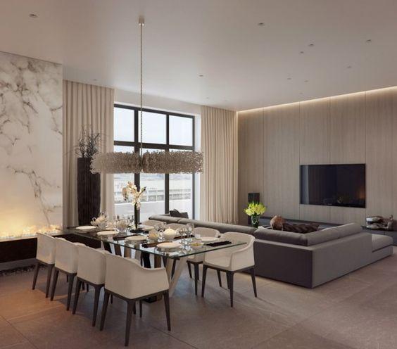 Wohnzimmer mit Wohnwand aus Marmor und Dreisitzer Sofa interior - marmorboden wohnzimmer