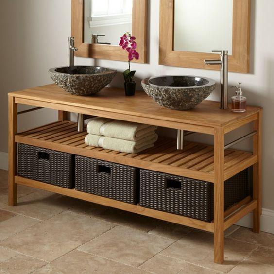 meuble de salle de bains en teck et vasques en pierre