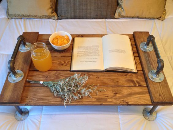 Rustic Industrial Wooden Bed Tray Reclaimed by DunnRusticDesigns: Breakfast in bed delivered to me on this?? Yes, please!