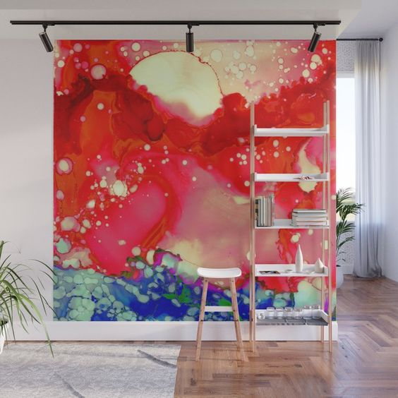 Sun Splash Red Blue Ink Abstract Painting Wall Mural by Laura Beth Love #laurabethlove
