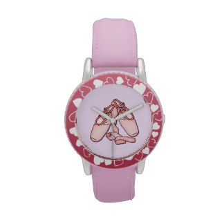 Hearts and Ballet Slippers Watches www.zazzle.com/whitewaveskids*/