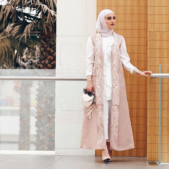 Double Shirt Party look with white hijab