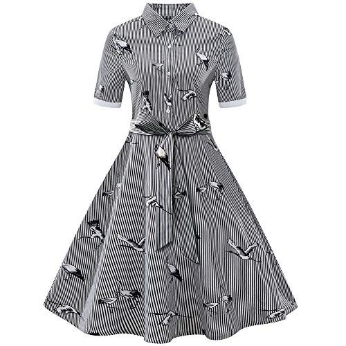 Amhomely Womens Ladies Stripe Vintage Swing Dress With B Https Www Amazon Co Uk Dp B07km2 Casual Party Dresses Rockabilly Swing Dress Vintage Swing Dress