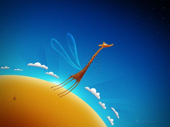 Full HD Wallpaper - Animals, Blue, Drawings, Giraffes, by Vlad Gerasimov