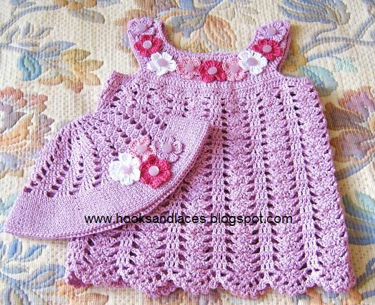 Hand crochet cute little summer outfit in Lavender.