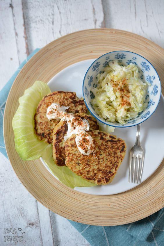 Ina Is(s)t: Couscous-Kartoffel-Bratlinge mit Spitzkohlsalat / Couscous potato patties with sweetheart cabbage salad