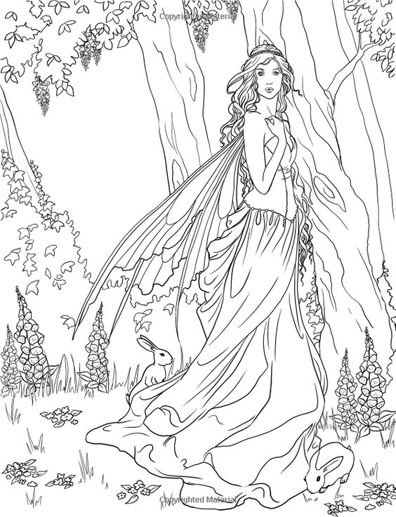 Fairy Adult Coloring Page Source Amazon Enchanted Magical Forests Coloring
