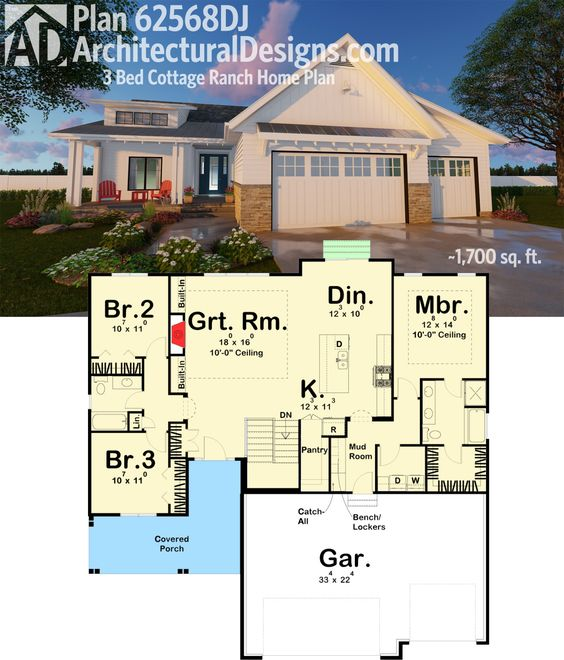 Plan 62568dj 3 bed cottage ranch home plan cottage for House plans with great room in front