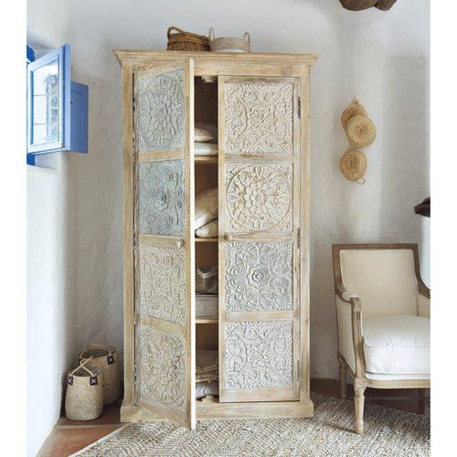 solid mango wood wardrobe in white and silver from maisons du monte carved solid mango wood