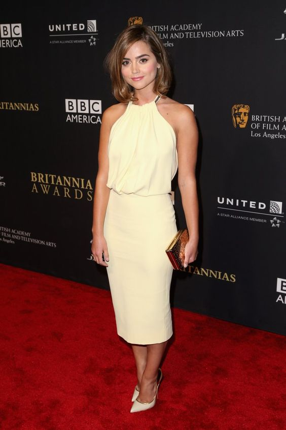 Pin for Later: A Look Back at Jenna Coleman's Rise to Stylish Stardom  A lemon-coloured Victoria Beckham dress looked incredible on Jenna at the Britannia Awards in LA in October 2014.
