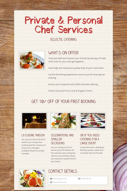 Hummingbird Personal Chef Services More food and food related - personal chef resume