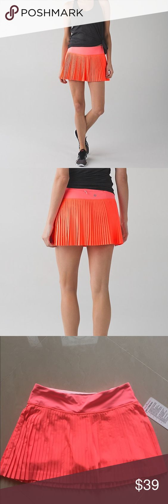 NWT Pleat to Street Skirt II-Size 4 This skirt is brand new with tags. It is super comfortable and looks amazing with any sport top. It looks great from tennis sessions to running trails. With hidden elastic shorts underneath, these are perfect for any occasion! I wore all day while visiting Hong Kong and got so many compliments. Perfect pop of color to your outfits! lululemon athletica Skirts