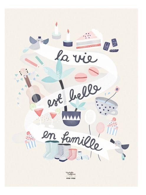 Affiche La vie est belle en famille - Michelle Carlslund x émoi émoi EMOI EMOI - Photo