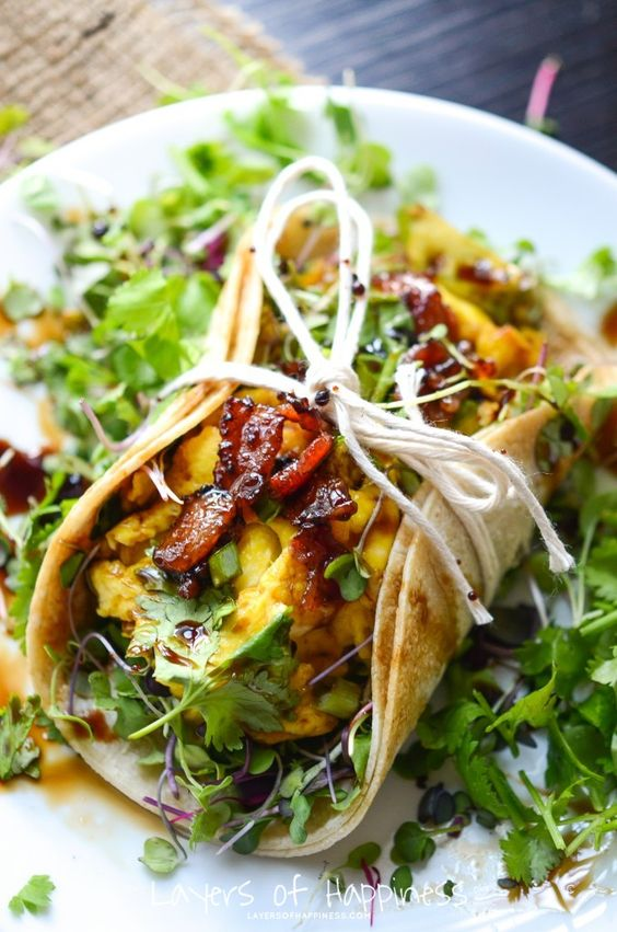Farmers' Market Breakfast Tacos - loaded with cheesy eggs, herbs, maple glazed bacon, and a balsamic glaze drizzle!