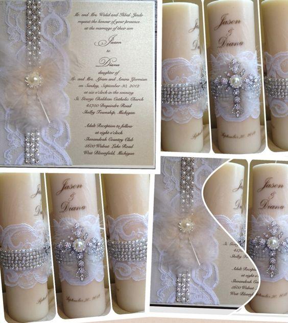 Wedding Invitation Candles: Candle Personalized Wedding Invitation Unity Keepsake
