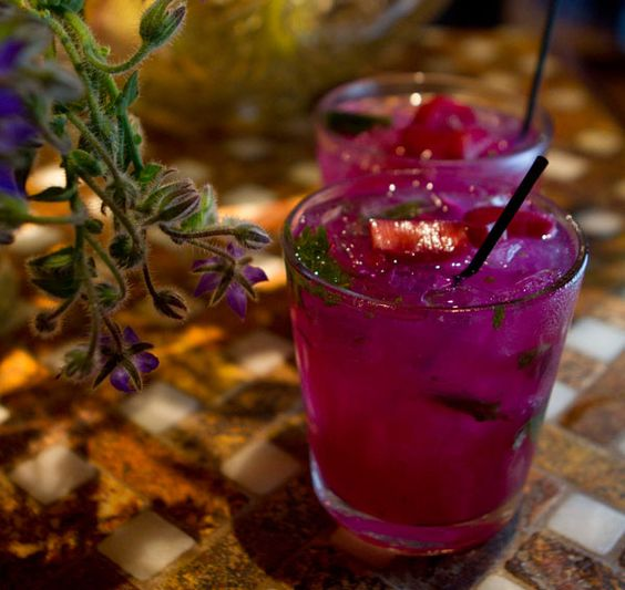 Scarlet Gander: Hangar One Buddha's Hand Citron Vodka, shiso-ginger-galangal syrup, mint and pickled rhubarb. Yum!