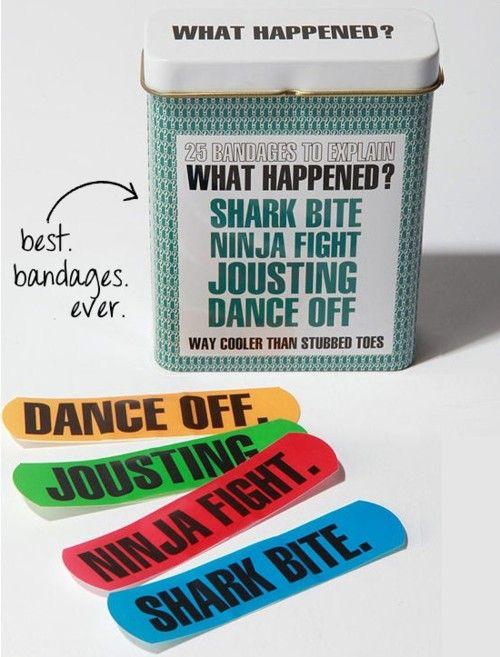 @Stephanie Moser you need these haha: Ninja Fight, Boo Boo, Awesome Bandaid, Happened Bandaids, Happened Bandage