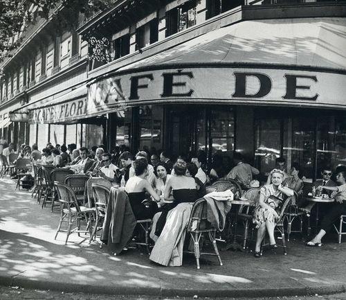 Cafe de Flore, Saint-Germain-des-Prés, Paris, 1952,