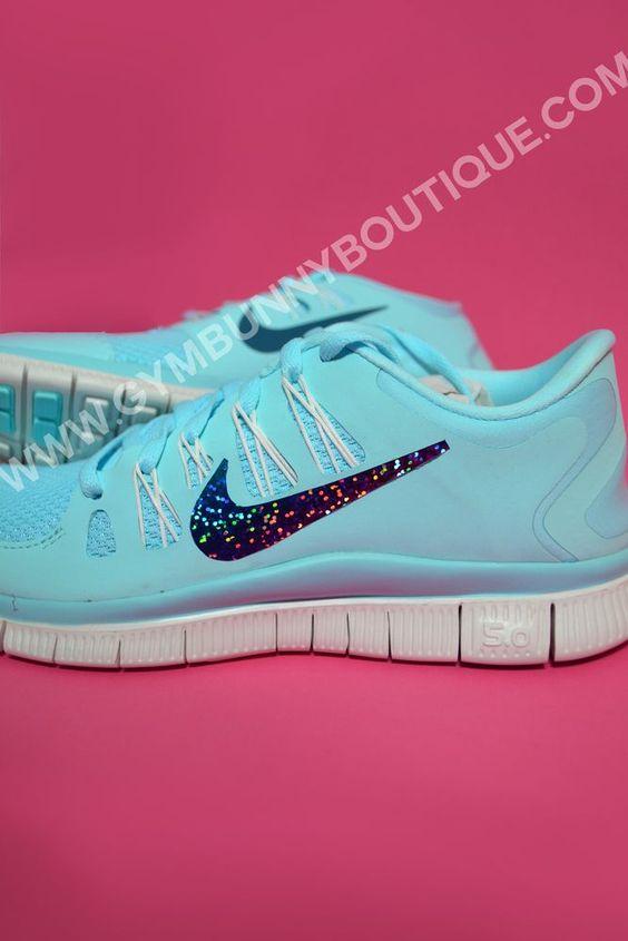 Custom Tiffany Blue Nike Free 5.0 With Glitter Tick - Click Image to Close