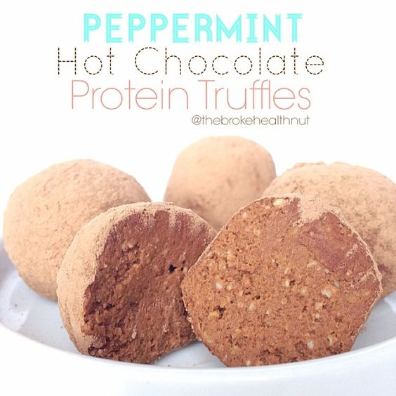 Recipe (Makes 18 truffles): 1/2 c oats (use gf if needed) 1 small sweet potato 1/2 c water 1/4-1/2 tsp pure peppermint extract 2 scoops (approx. 6 tbsp) chocolate protein powder 2 1/2 tbsp cacao or unsweetened cocoa powder 2-3 packets stevia 10 drops liquid stevia 1 1/2 tbsp cacao (or unsweetened cocoa powder) for coating.