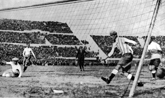 Uruguay's first goal in the World Cup Final against Argentina, in Montevideo, Uruguay, July 30, 1930. Uruguay defeated Argentina by four goals to two.  | www.dribblingman.com